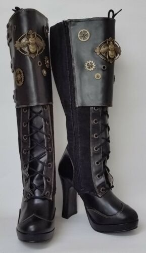 Demonia Crypto-302 Boots Black Knee-High Steampuck