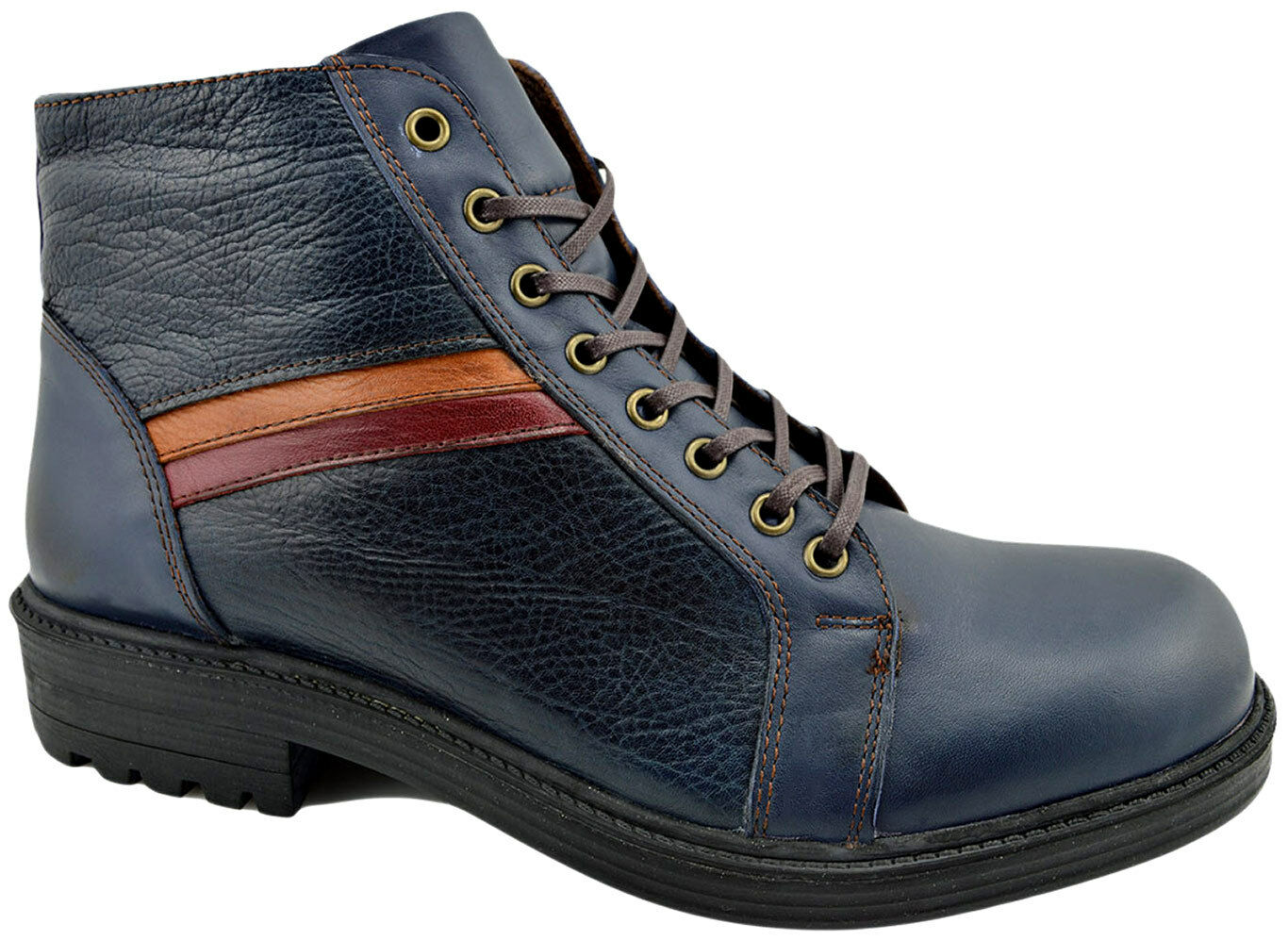 REACTOR bluee Calf Leather Ankle Boots Men shoes
