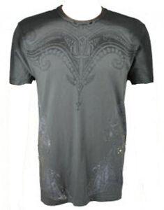 Konquest-Platine-Homme-Tribal-Bulls-T-Shirt-Imprime-Gris-Fonce-KQTS017