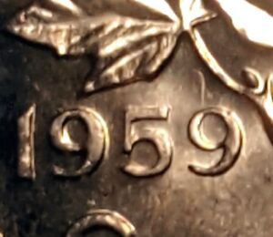 Canada-1959-Small-Cent-Hanging-9-Choice-BU-UNC-Uncirculated-Penny