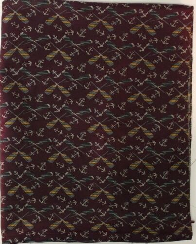 """Cross Oars and Anchors on Beautiful Plum Colored Fabric"""