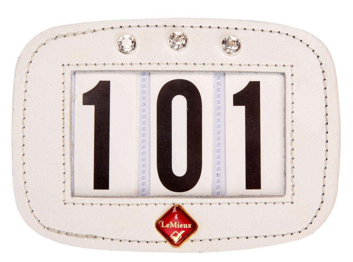 LeMieux HAMAG Patent Diamante SADDLECLOTH Saddle Pad NUMBER HOLDER Display White