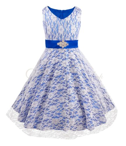 Lace Flower Girl Formal Wedding Bridesmaid Party Pageant Princess Dress 3-16Year