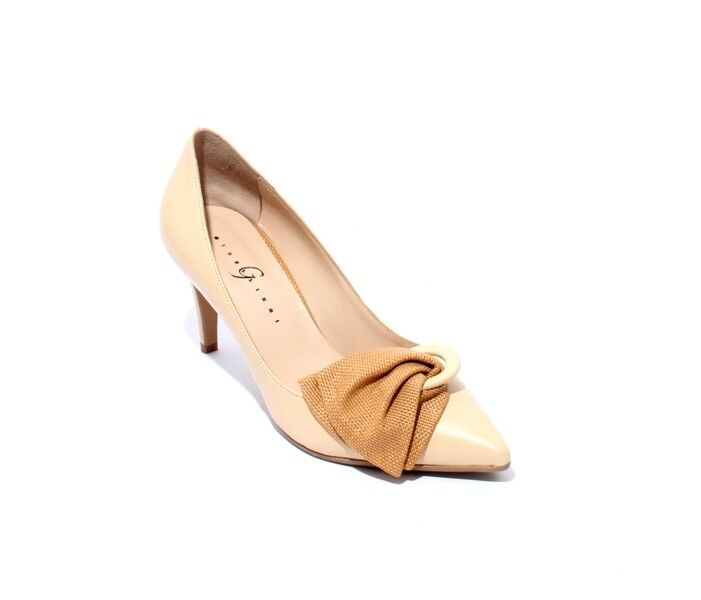 Gibellieri 3367x Beige Leather Pointy Toe Bow Heel Pumps 37.5   US 7.5