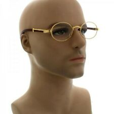 072fa778bc7 Vintage Mens Classy Style Clear Lens Oval Gold Frame Eye Glasses Wooden  Print