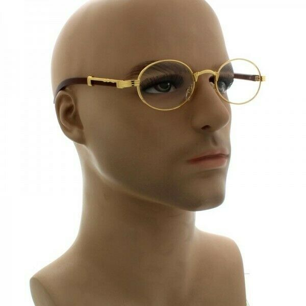 54b0915996 Vintage Mens Classy Style Clear Lens Oval Gold Frame Eye Glasses Wooden  Print for sale online