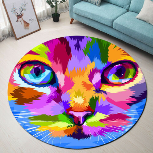Colorful Cat Face /& Eyes Carpet Bedroom Round Area Rugs Memory Foam Non-Slip Mat