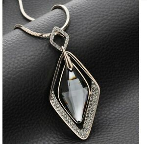 Damen-Halskette-mit-Anhaenger-Silber-lange-Kette-Schmuck-Geschenk-Weihnachten