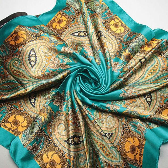 Big Size 90x90cm Square Scarf Imitated Silk Women Lady Satin Scarves Shawls Hot