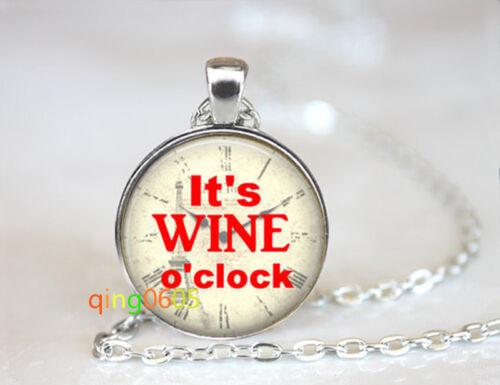 Wine o clock photo glass dome Tibet silver Chain Pendant Necklace wholesale