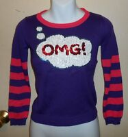 T/o Girls Bling Sequin Omg Long Sleeve Pullover Sweater Top Purple Charm S/7
