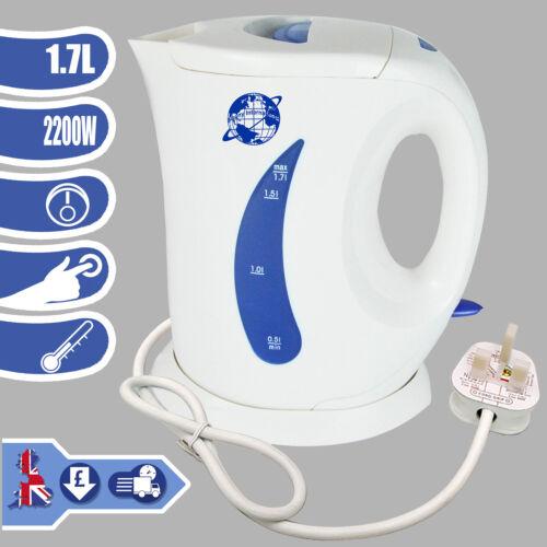 Bollitore ELETTRICO 1.7L Bianco 2200W Senza Fili Cucina BOLLITORE DA VIAGGIO CAMPER ACQUA