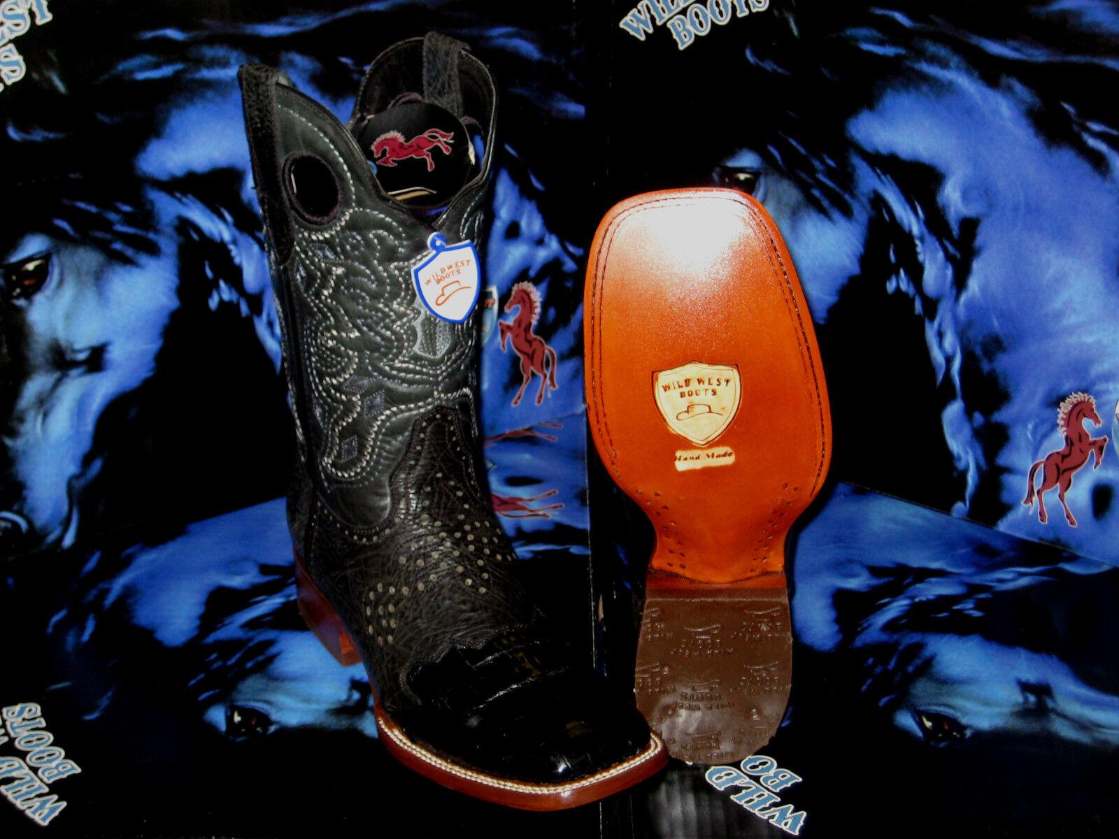 Wild WEST Genuino Cocodrilo vientre cuadrado negras Rodeo Western Cowboy bota 1D28205