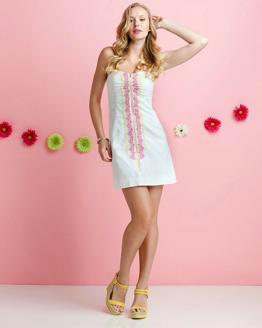 NWT NWT NWT  238 LILLY PULITZER Wesley Multi Zip It Panel embroidery Dress  8 1a11d7