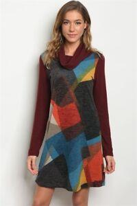 New-USA-Boutique-Boho-Color-Block-Geometric-Cowl-Neck-Western-Sweater-Dress-S