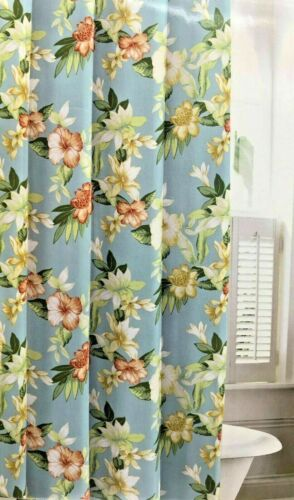 Tommy Bahama Tropical Island Floral Hibiscus Aqua Blue Fabric Shower Curtain NEW
