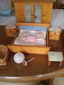 ältere Holz Puppenhaus Möbel Set Schlafzimmer Schrank Bett ...