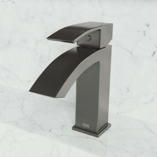 Vigo VG01015 Satro 1.2 GPM 1 Hole Bathroom Faucet Black//Graphite Matte Black NEW