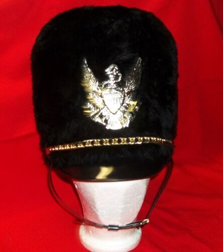 Bayly Marching Band Black Imitation Fur Busby Helmet w// War Eagle and Chain