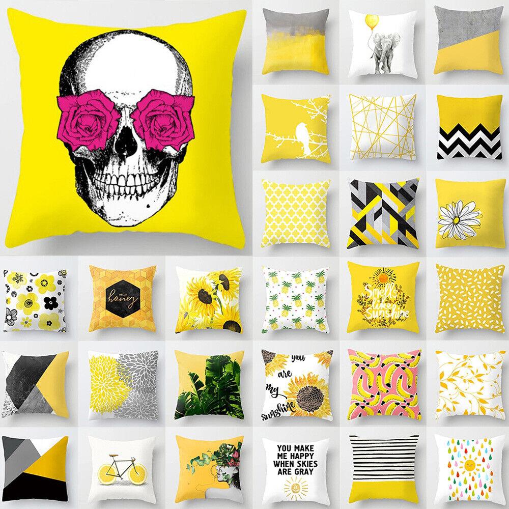 18/'/' Yellow Geometric Pillow Case Sofa Car Waist Throw Cushion Cover Home Decor