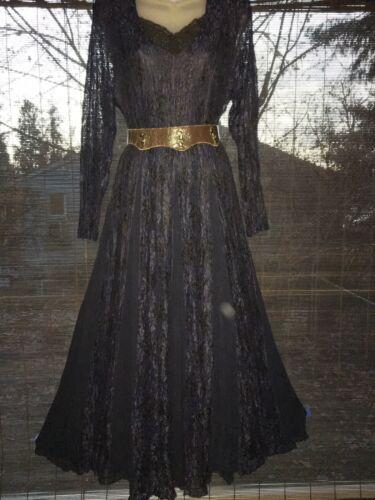 STARINA Vintage Lace  Crochet  V-Neck  Navy Romant