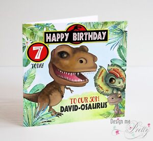Image Is Loading PERSONALISED JURASSIC PARK Birthday Card Dinosaur T Rex