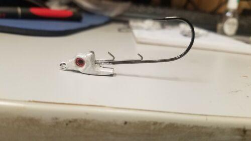 3ea.1//4oz.white swimbait jig head with straight shank gamakatsu 4//0 hook