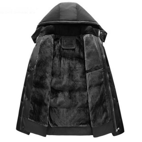 Men Winter Fur Lined Hooded Jacket Thick Warm Quilted Padded Parka Coat Outwear
