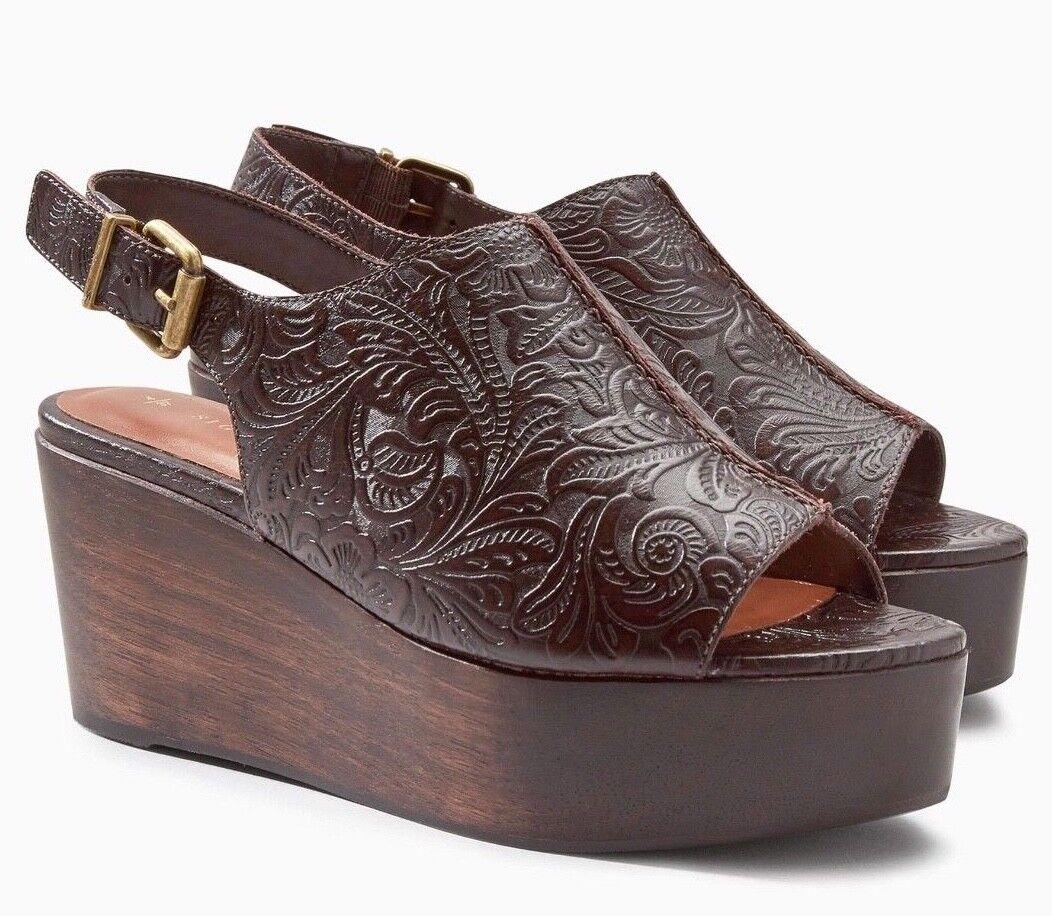 Next Signature-marron en cuir estampé bride arrière talons compenses-SZS UK 5 6