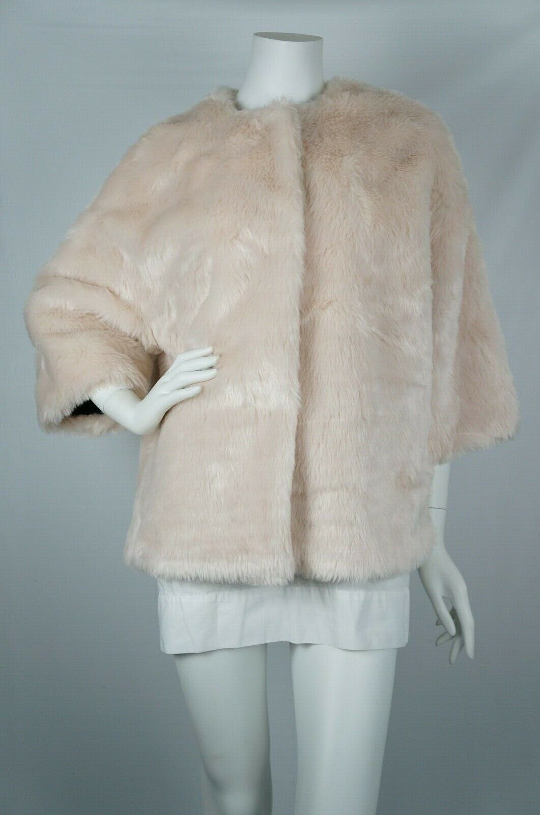 424 FIFTH LORD & TAYLORS OVERSIZED FAUX FUR 3 4 SLEEVE SHORT COAT SZ M PINK NWT