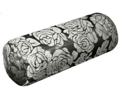 MQ-Silver Metallic Threads Jacquard Velvet Neck Roll CASE Tube Bolster COVER
