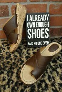 3a1c1c55eb BOC Born Womens Brown Tan Wedge Strappy Sandal Shoes Cork Heel Toe ...