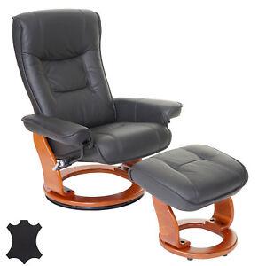 MCA fauteuil relax de télé Hamilton tabouret cuir 130kg noir