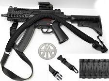 "60"" Paracord Rifle Gun Sling 1 or 2 Point Cobra Weave Airsoft Shotguns BLACK"