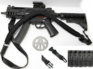60-034-Paracord-Rifle-Gun-Sling-1-or-2-Point-Cobra-Weave-Airsoft-Shotguns-BLACK