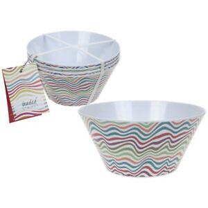 Sl-Melamine-Small-Bowl-15cm-Coloured-Waves-Set-Of-4-Design