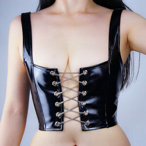 04182086249 LATEX BRALETTE Shine Leather Bra Top Crop Corset Black Chain Lace Up ...