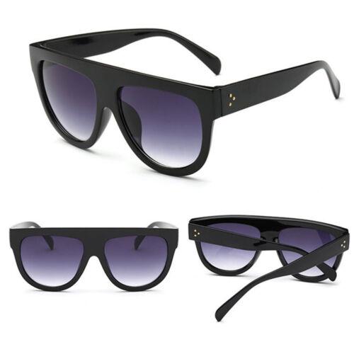 Elegante Nero Flat Top OMBRA oversize Donne Ragazze Uomini Designer occhiali da sole