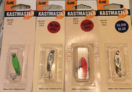 Lot of 4 NIB Acme Kastmaster Spoons 1//12 ounce all different colors GREAT LURES!