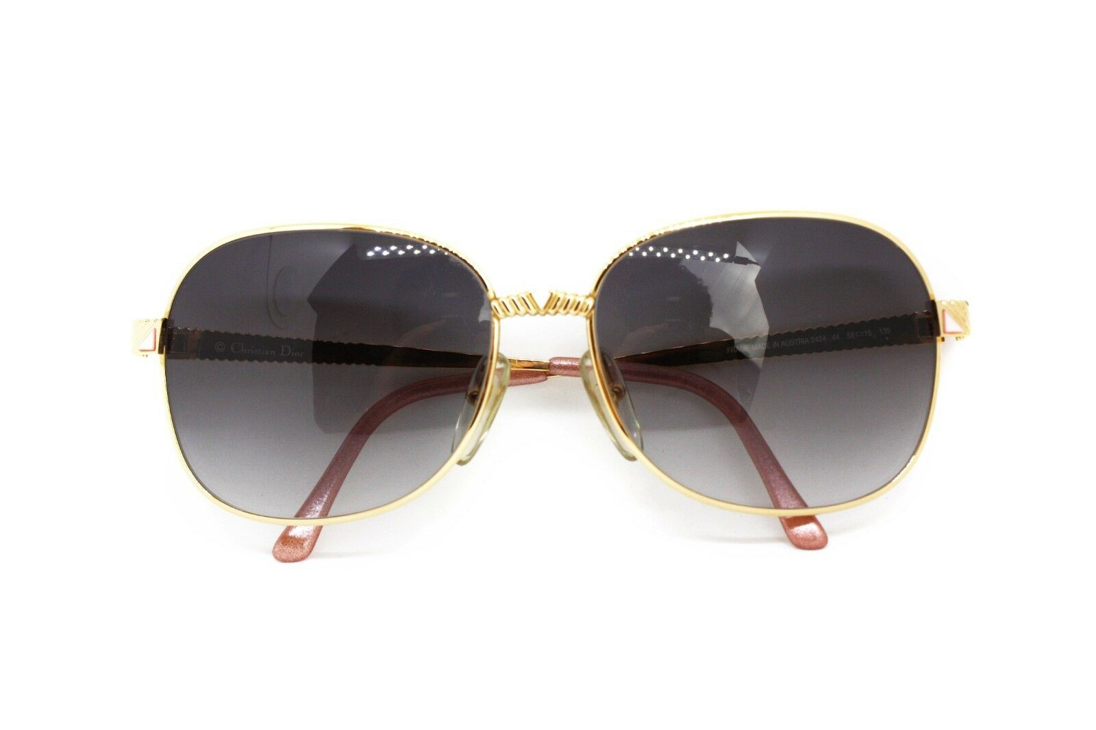 Oversized Womens Sunglasses Christian Dior 2424 Gold and Triangular Inserts, Pink-show original title