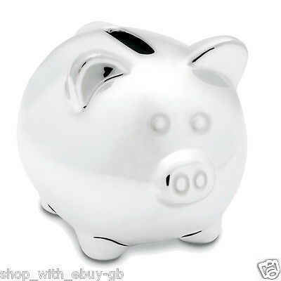SILVER CERAMIC PIGGY BANK / PIGGI MONEY BOX / PIG - IDEAL CHRISTENING GIFT