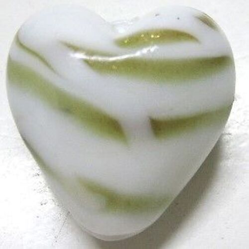 20mm A3978 4 pcs Lampwork Heart Glass Beads White