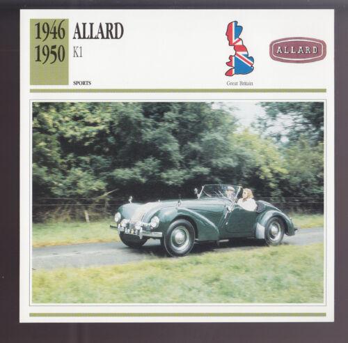 1946-1950 Allard K1 British Car Photo Spec Sheet Info ATLAS CARD 1947 1948 1949
