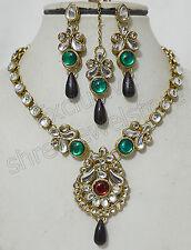 Designer Antique Gold Plated Kundan Stones Necklace Earring Tika Jewellery Set