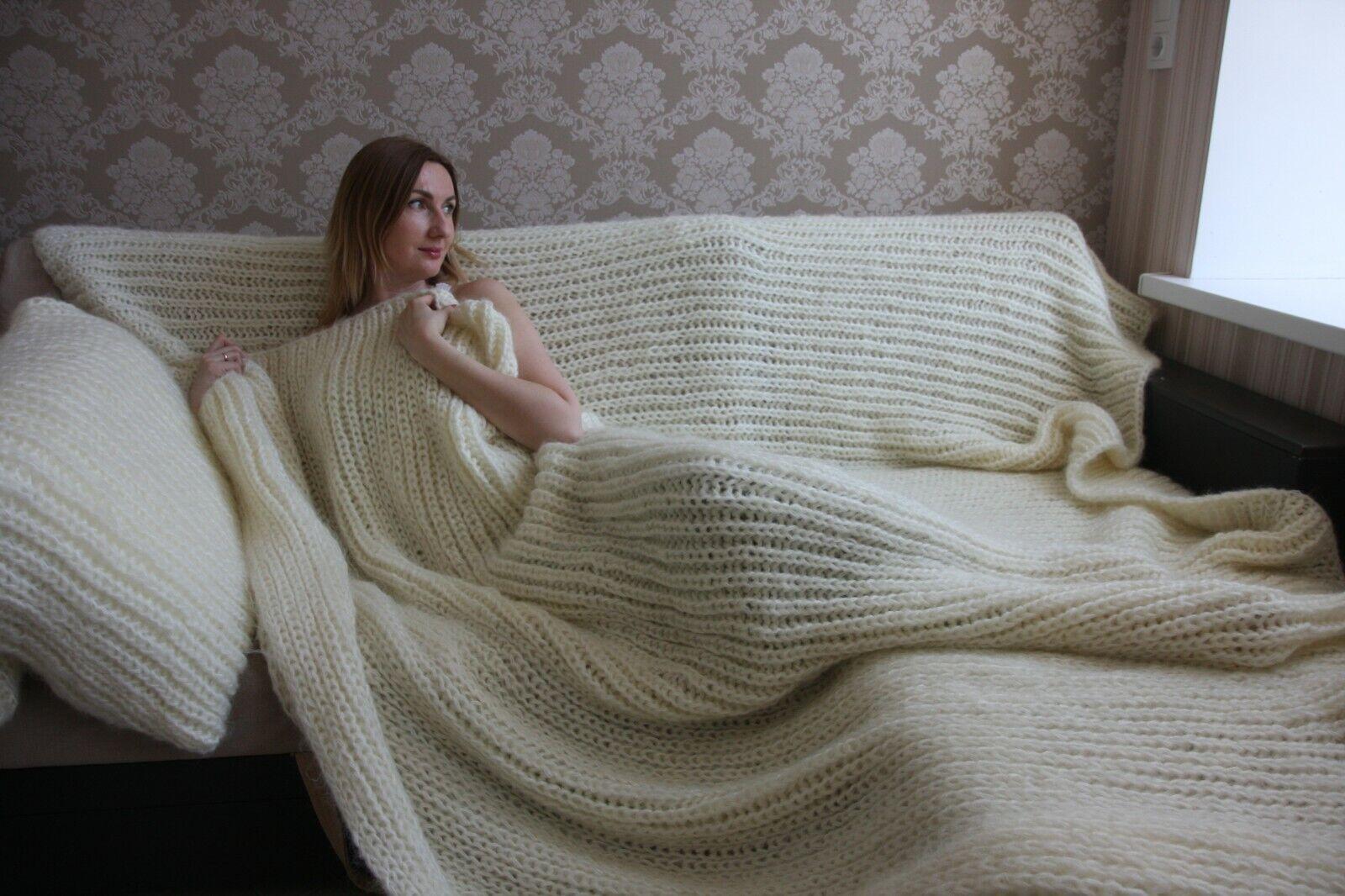 Premium Longhair Mohair Plaid Blanket Bedspread& 2 pillow cases hand knit Ivory