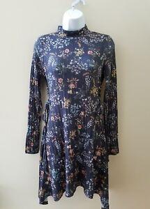6b5ad893f American Rag CIE Blue Floral Stretch Dress NWT S faux lace shark hem ...