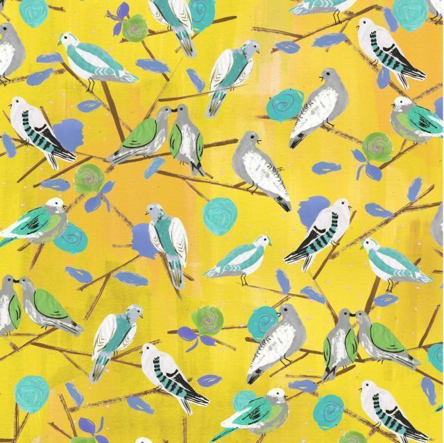 YELLOW - LOVEBIRDS BY  MAKOWER INPRINT 100% COTTON FABRIC birds