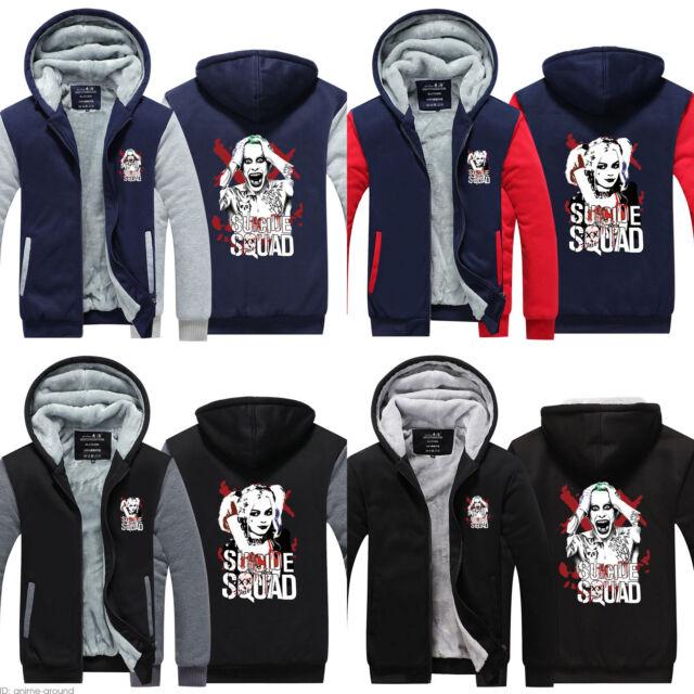 Suicide Squad Joker Sweater Zipper Hoodie Thick Jacket Coat Men/'s Sweatshirt