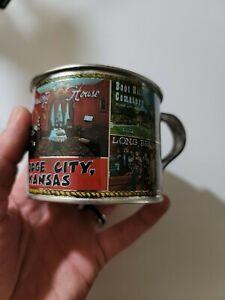 Vintage 1960 Dodge City Kansas Boot Hill Cemetery Souvenir Tin Cup Cowboy Kansas