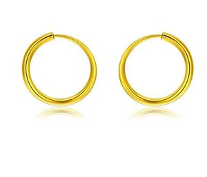 Details About Pure 999 24k Yellow Gold Earring Women Smooth Hoop Earrings 1 5g